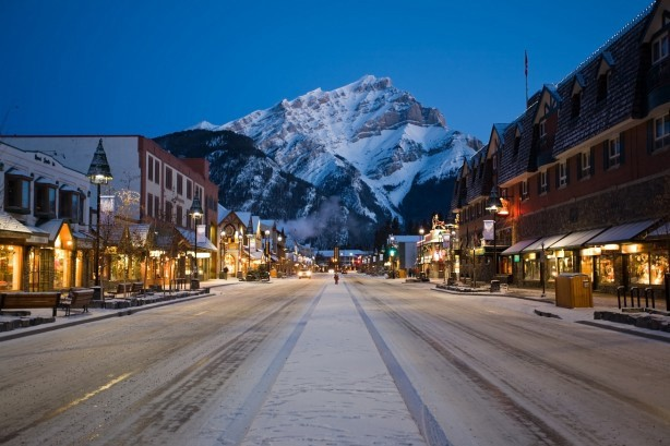 Banff town at night