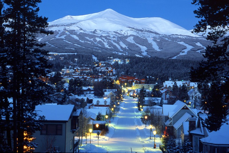 Breckenridge town at dusk
