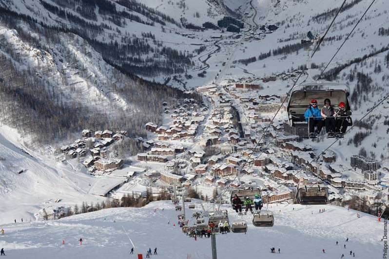 Chair lift and town, Val d'Isere, France