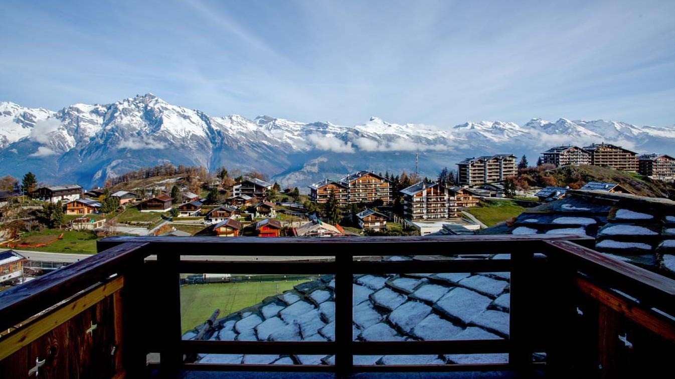 View from balcony in chalet Altair - ski chalet in Nendaz Switzerland
