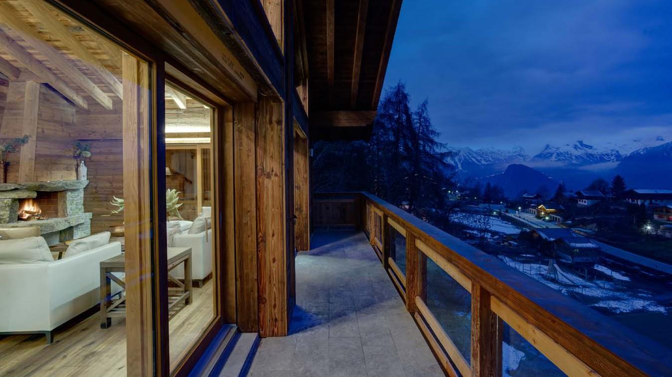 Living room balcony, Chalet Altair, Nendaz, Switzerland