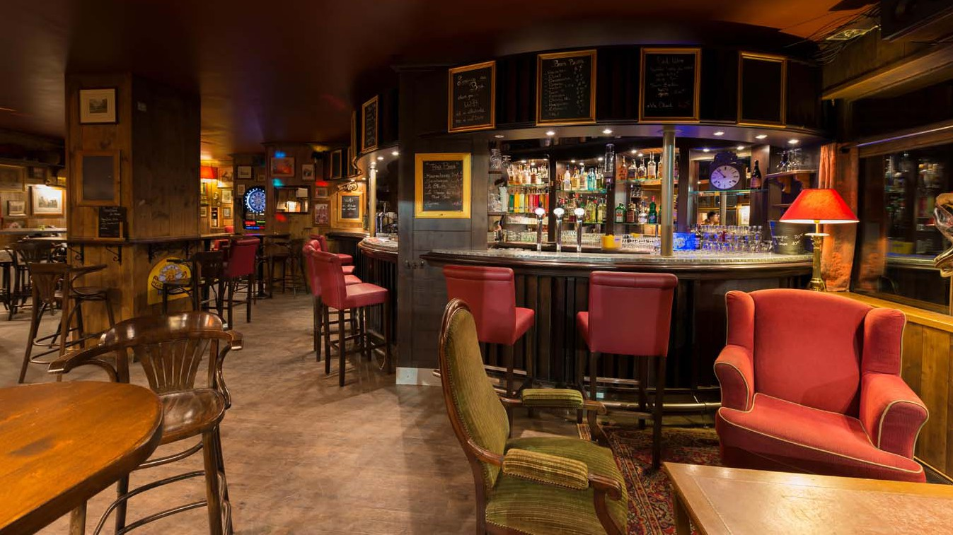 Bar area in Val 2400 building, Val Thorens, France