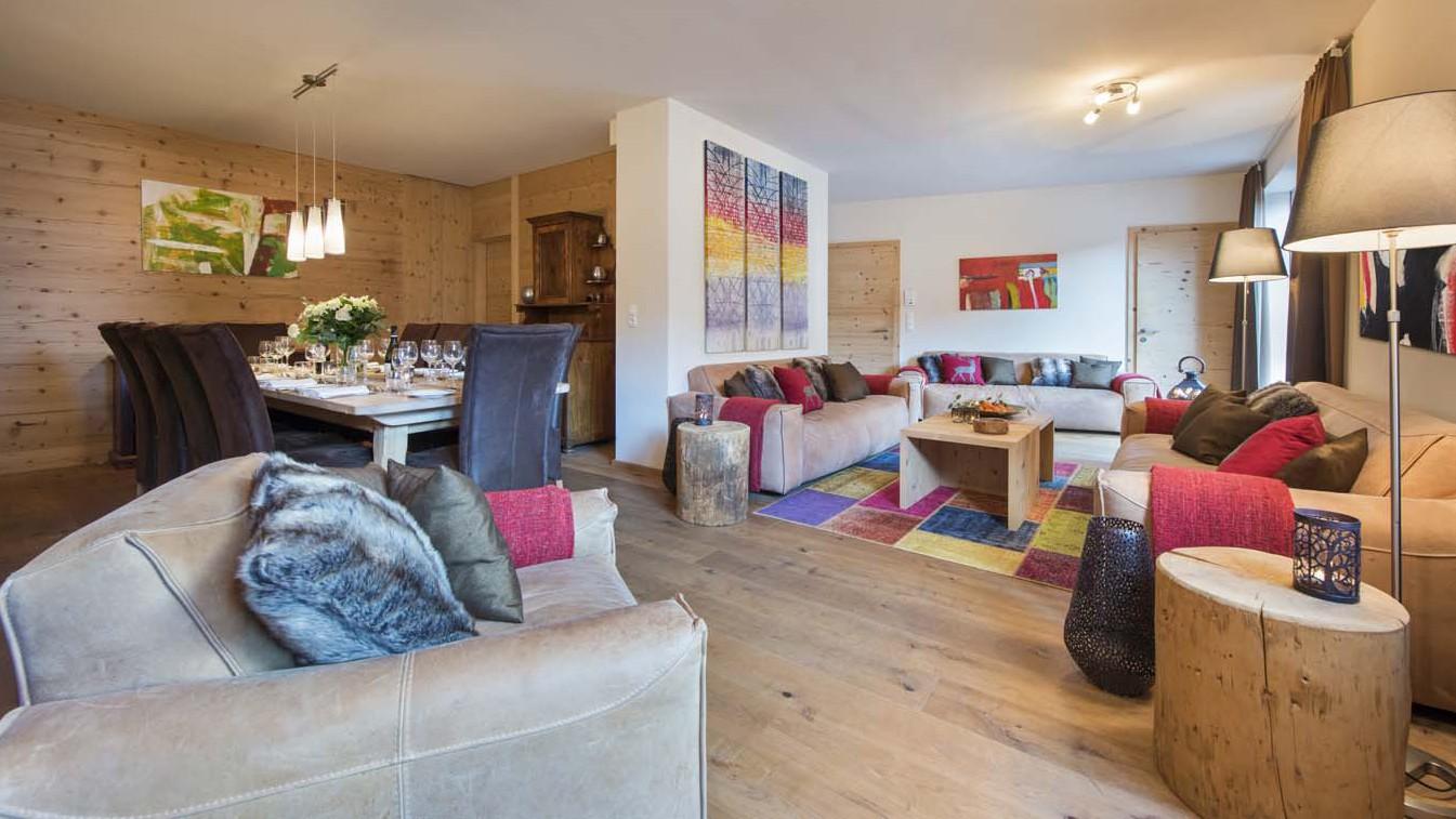 Living and Dining Area, Chalet Nimbus, St. Anton, Austria