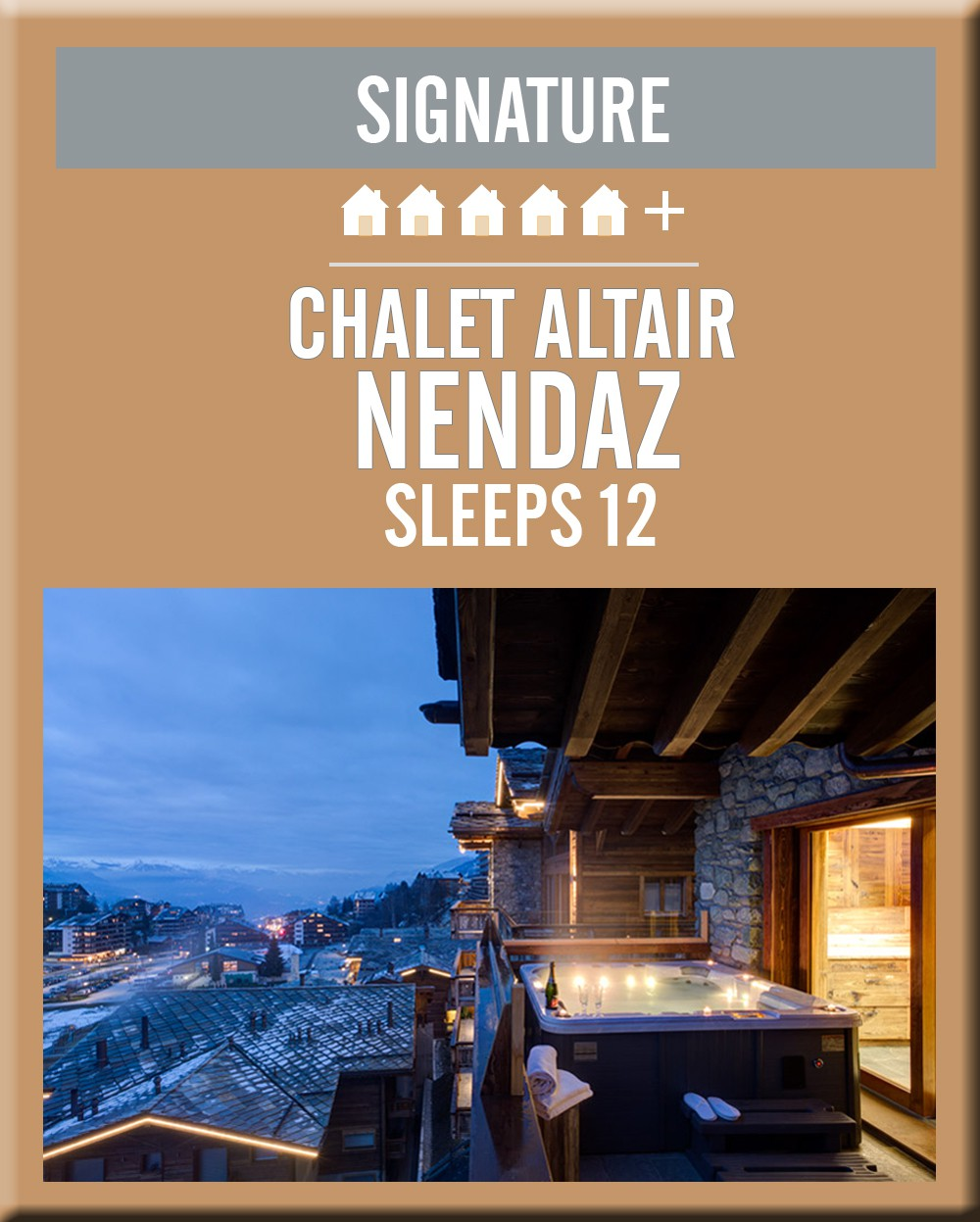 Switzerland chalet altair nendaz balcony jacuzzi night