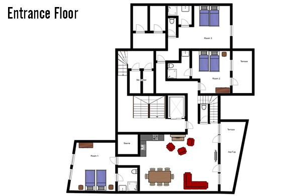 Floor plan of Chalet Hellebore, entrance floor - ski chalet in La Plagne, France