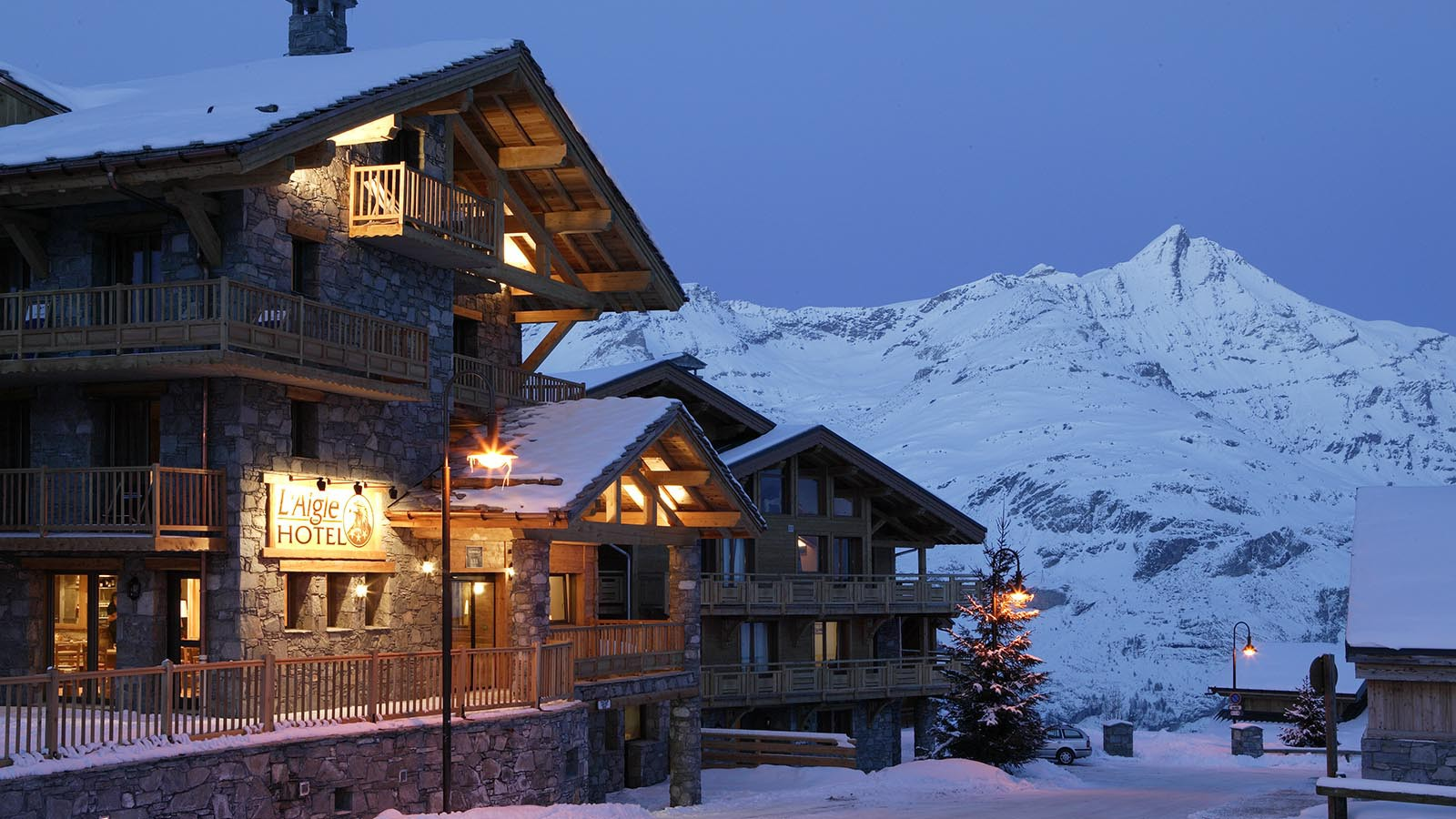 Night Exterior of Ski Lodge Aigle, Tignes, France