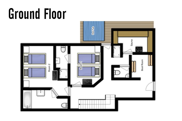 Floor plan of Chalet Jacques, ground floor - ski chalet in Courchevel, France