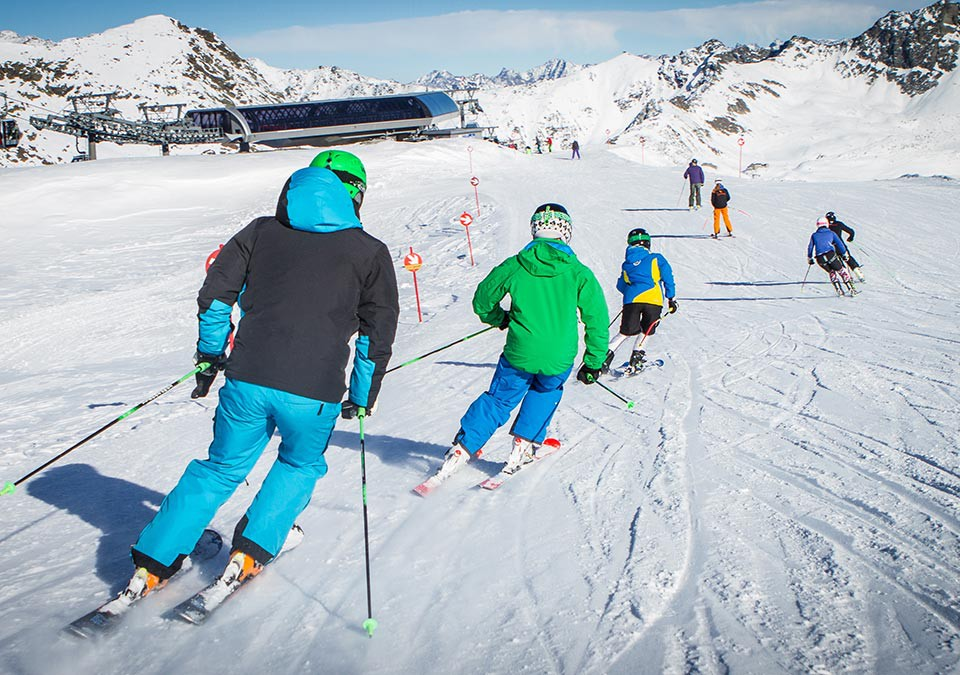 A group of skiers on the slopes