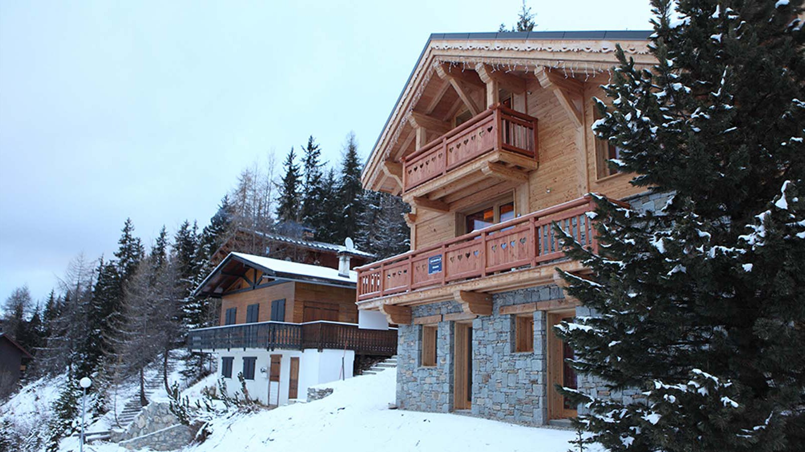 Snowy Exterior of Chalet Klosters - Ski Chalet in La Plagne, France