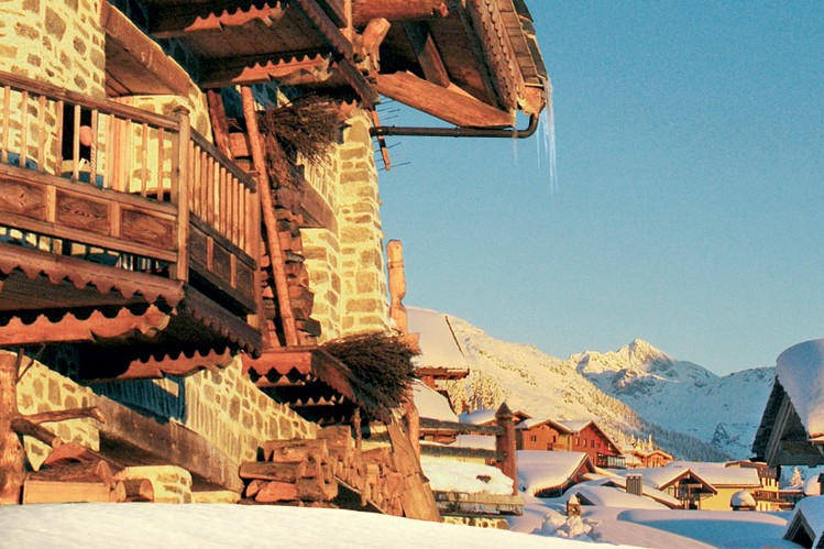 La Rosiere at dusk with icicles melting from the rooftops