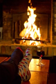 Luxury ski chalets, fire and wine