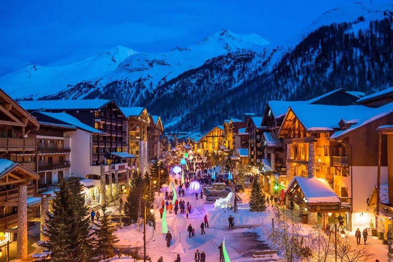 Main Street at night, Val d'Isere, France