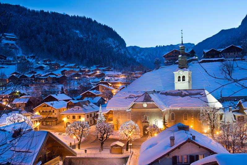 Morzine Ski Resort, France, Town at Night
