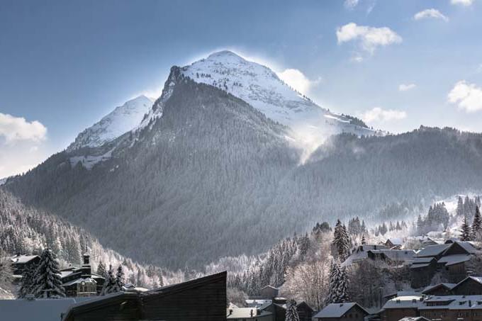 Morzine Ski Resort, France, View of Village with Mountain Backdrop