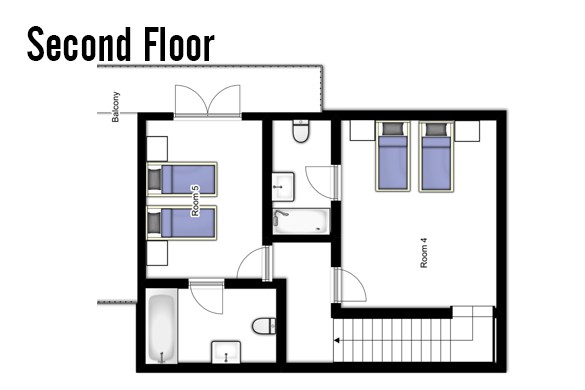Floor plan of Chalet Jacques, Second floor - ski chalet in Courchevel, France