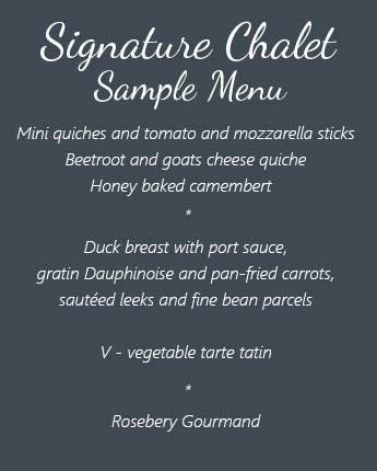 signature chalet sample menu