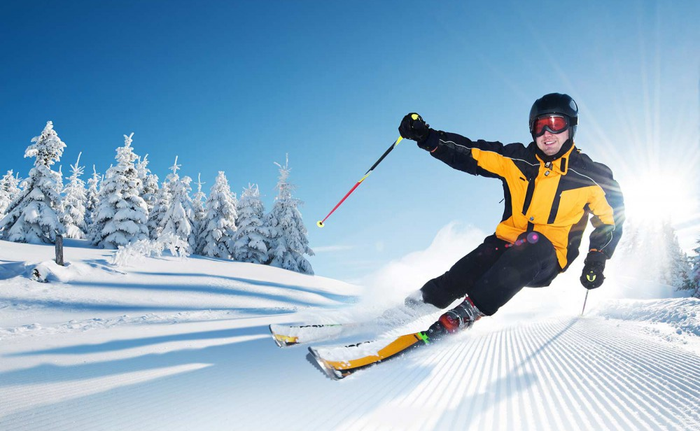 Skier at a resort on the piste