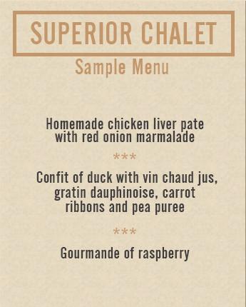superior chalet sample menu