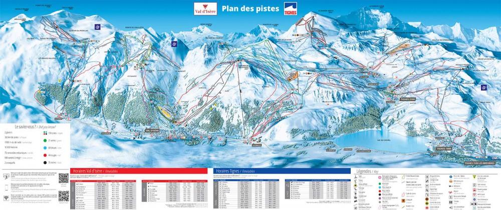 Tignes - Val d'Isere Piste Map