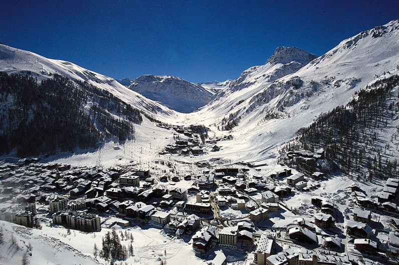Aerial overview of snowy Val d'Isere