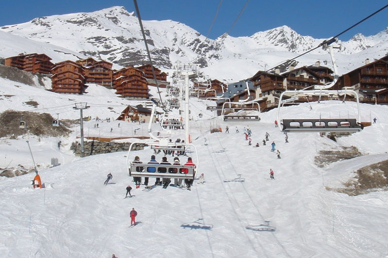 Aerial view from the chair lift on a ski holiday to Val Thorens