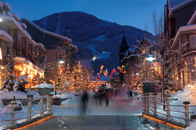 The streets of Whistler town lit up at Christmas
