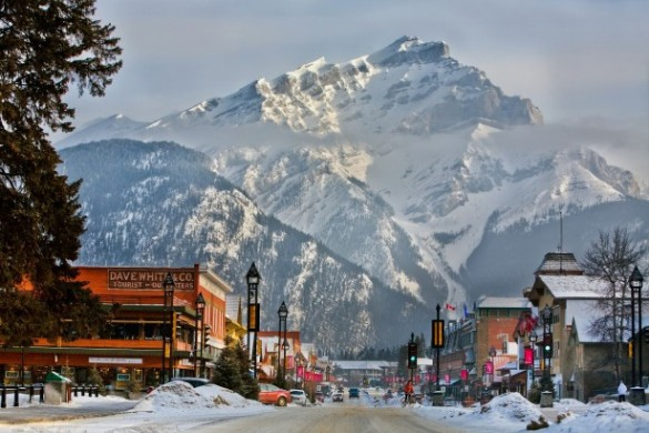 Snowy mountains overlooking Banff town