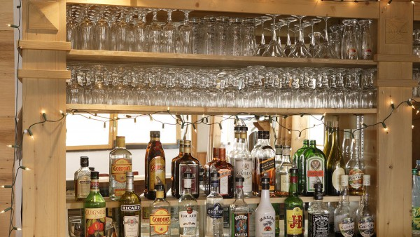 Bar stock in Ski Lodge Aigle, Tignes, France