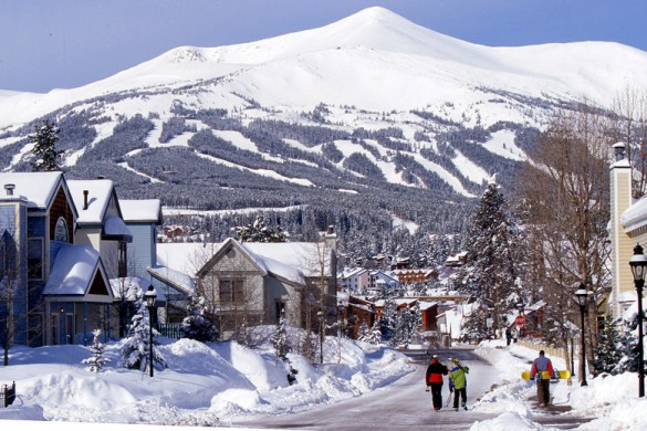 Breckenridge town with Breckenridge mountains in the background