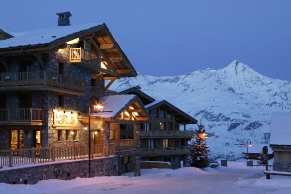 Night exterior of the Ski Lodge Aigle - ski chalet in Tignes, France