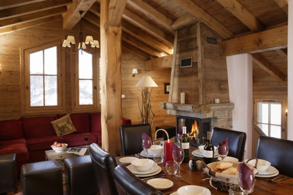 Living and Dining Room In Chalet Ecureuil de Neige - Ski Chalet In Courchevel, France