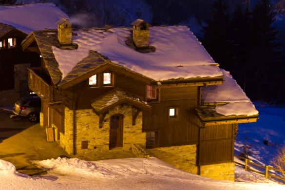 Snowy Night Exterior of Chalet Lapin de Neige - Ski Chalet in Courchevel, France