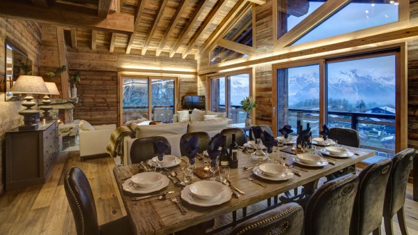 Main living and dining area, Chalet Altair, Nendaz, Switzerland