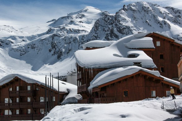 Close up snowy exterior of Village Montana - Self-catered ski apartment in Tignes, France