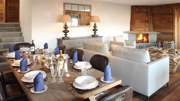 Dining room and Lounge in Chalet Rosablanche, Nendaz