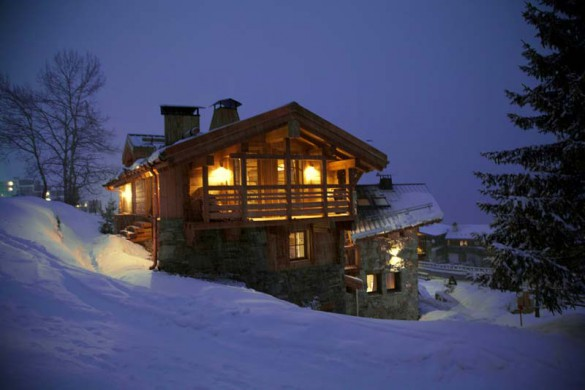 Exterior at night, Chalet Samuel, Courchevel, France