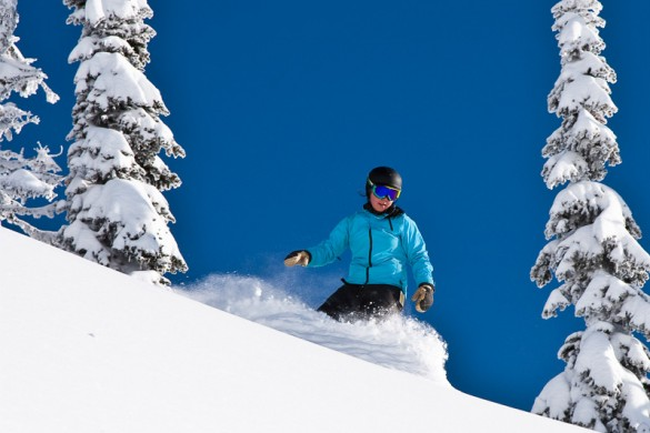 Snowboarder enjoying fresh powder under a blue sky