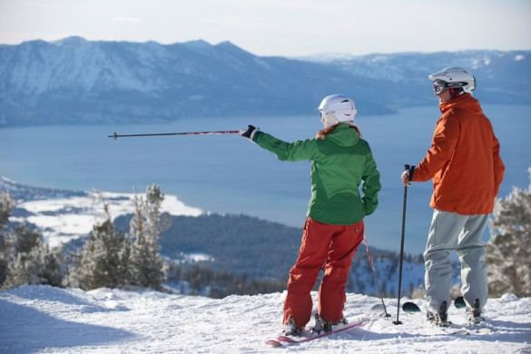 Two skiers scoping their route in Heavenly USA