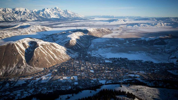 Jackson Hole Ski Resort, USA - Town of Jackson - high view