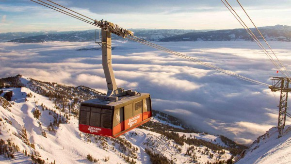 Jackson Hole Ski Resort, USA - Tram, mountains and clouds