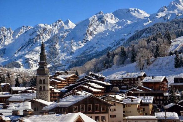 La Clusaz, France, View of Resort in Sunshine