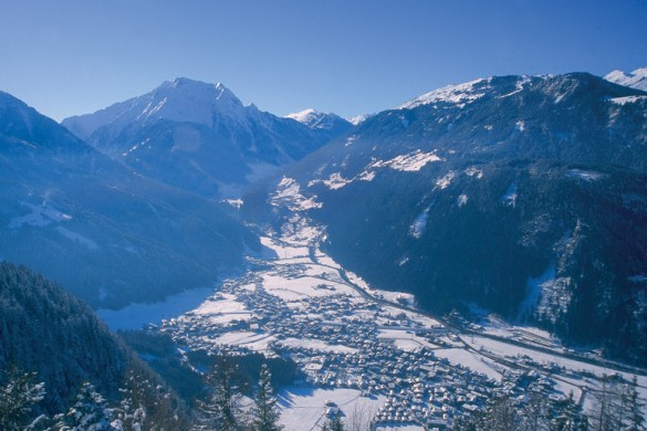 An aerial view of Mayrhofen resort from the mountains