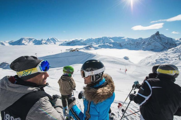Meribel Ski Resort, France, Skiing in the Sunshine with view over the clouds