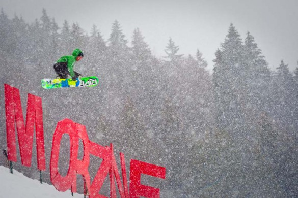 Morzine Ski Resort, France, Snowpark with Morzine Sign