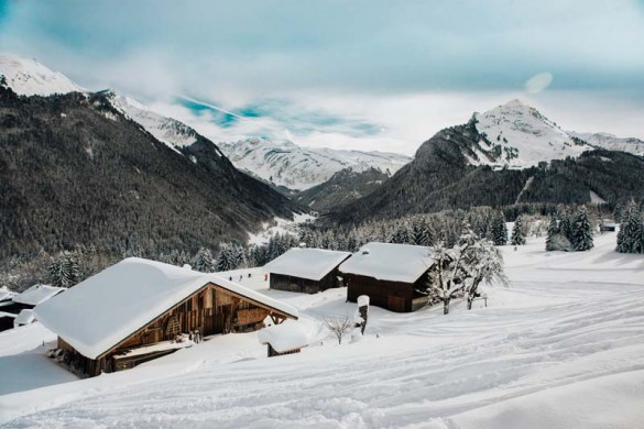 Morzine Ski Resort, France, Traditional Chalets with a Mountain View