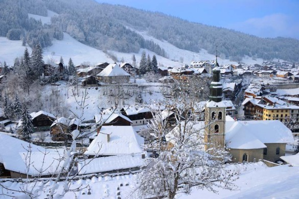 Morzine Ski Resort, France, View of Traditional Mountain Town with Church