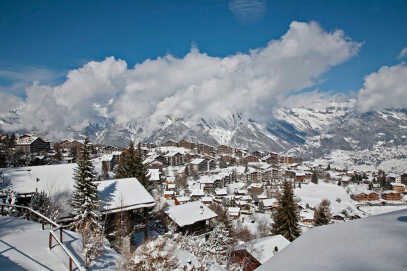 Cloud cover over Nendaz town