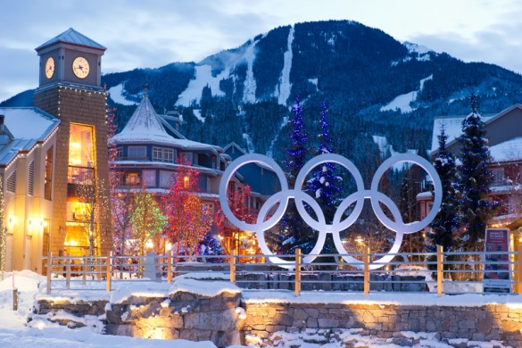 The Olympic rings in Whistler town