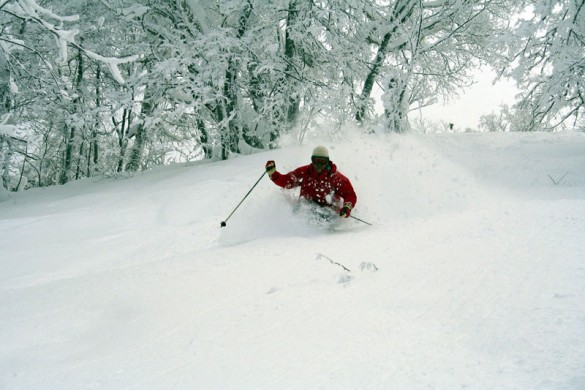 Deep powder skiing whilst in Furano, Japan