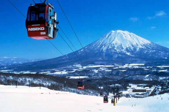 Cable car in Niseko with Mt Fuji in the background